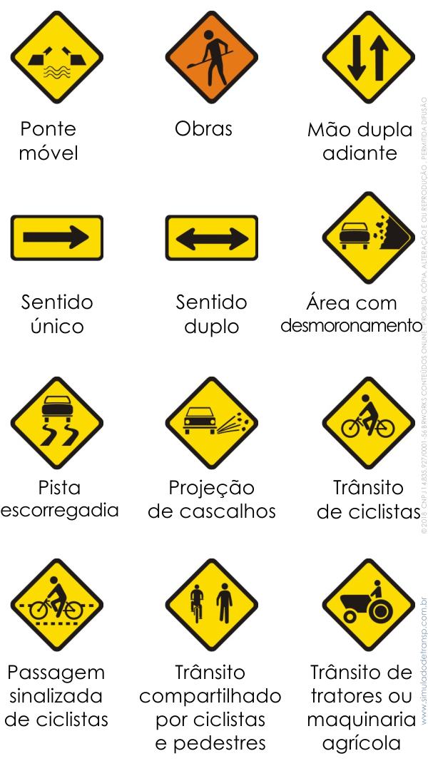 Placas de trânsito - placas de advertência - Simulado Detran SP - 37 a 48