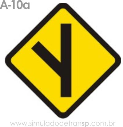 Placa de advertência A-10a: Entroncamento obliquo à esquerda