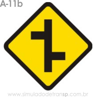 Placa de advertência A-11b: Junções sucessivas contrárias primeira à direita