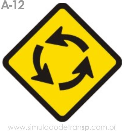 Placa de advertência A-12: Interseção em círculo