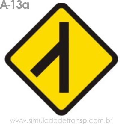 Placa de advertência A-13a: Confluência à esquerda
