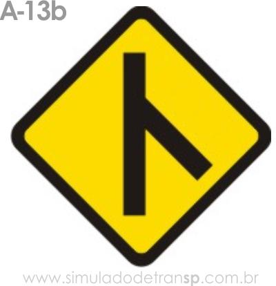 Placa de advertência A-13b: Confluência à direita