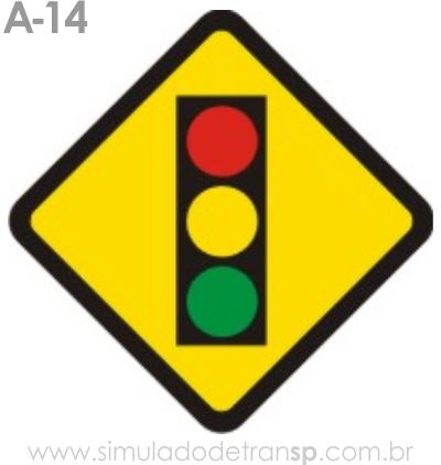 Placa de advertência A-14: Semáforo à frente