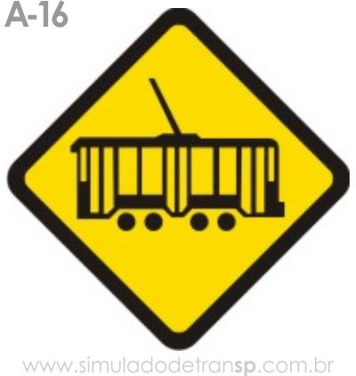 Placa de advertência A-16: Bonde