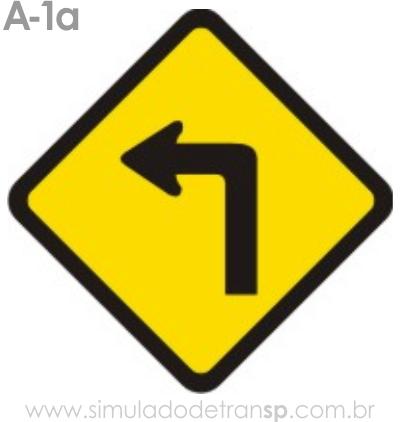 Placa de advertência A-1a: Curva acentuada à esquerda