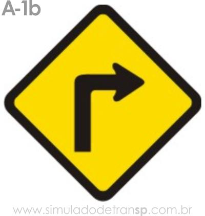 Placa de advertência A-1b: Curva acentuada à direita