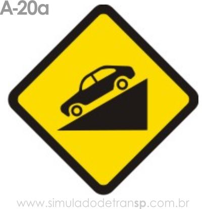 Placa de advertência A-20a: Declive acentuado