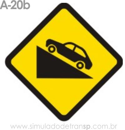 Placa de advertência A-20b: Aclive acentuado