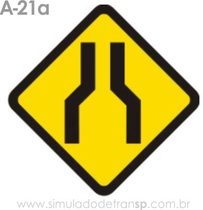 Placa de advertência A-21a: Estreitamento de pista ao centro
