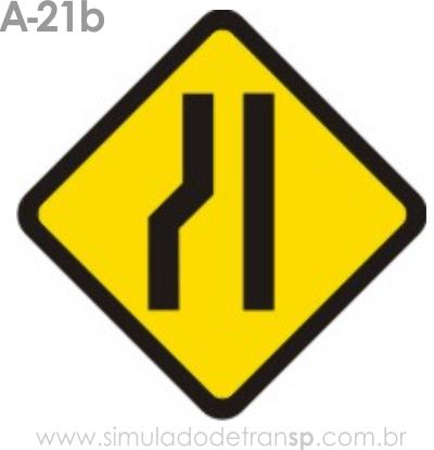 Placa de advertência A-21b: Estreitamento de pista à esquerda