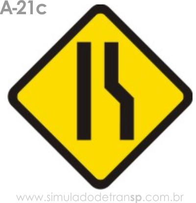 Placa de advertência A-21c: Estreitamento de pista à direita