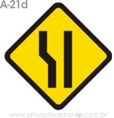 Placa de advertência A-21d: Alargamento de pista à esquerda