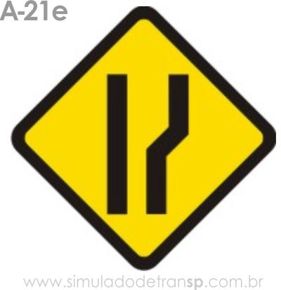 Placa de advertência A-21e: Alargamento de pista à direita
