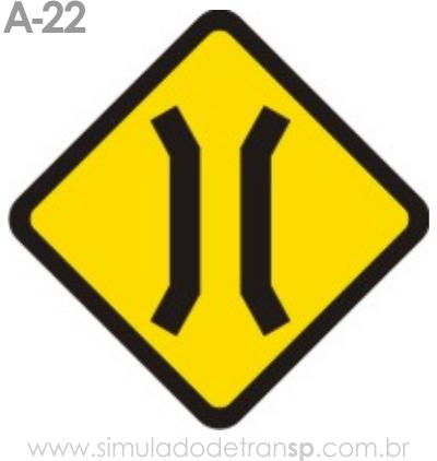 Placa de advertência A-22: Ponte estreita