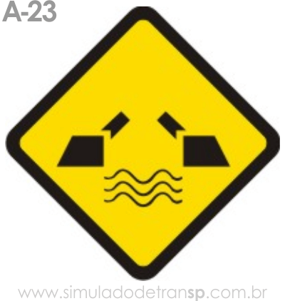Placa de advertência A-23: Ponte móvel
