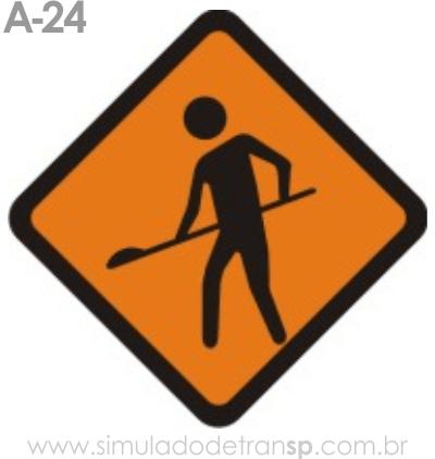 Placa de advertência A-24: Obras