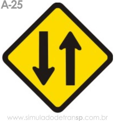 Placa de advertência A-25: Mão dupla adiante