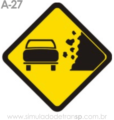Placa de advertência A-27: Área com desmoronamento