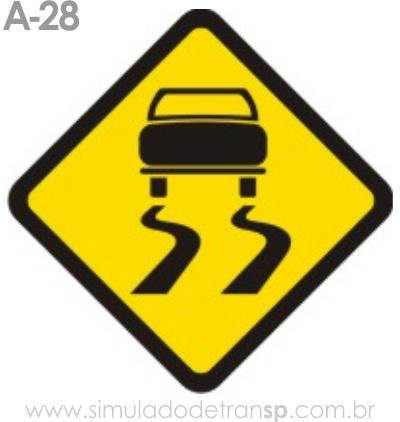 Placa de advertência A-28: Pista escorregadia