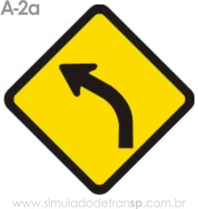 Placa de advertência A-2a: Curva à esquerda