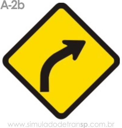 Placa de advertência A-2b: Curva à direita