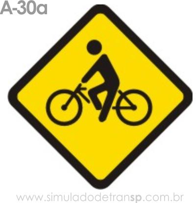 Placa de advertência A-30a: Trânsito de ciclistas