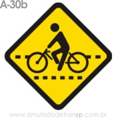 Placa de advertência A-30b: Passagem sinalizada de ciclistas