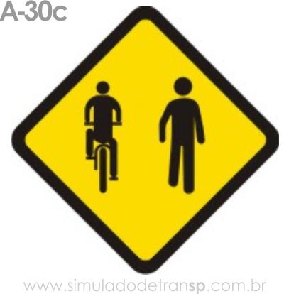 Placa de advertência A-30c: Trânsito compartilhado por ciclistas e pedestres