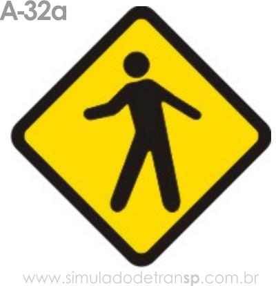Placa de advertência A-32a: Trânsito de pedestres