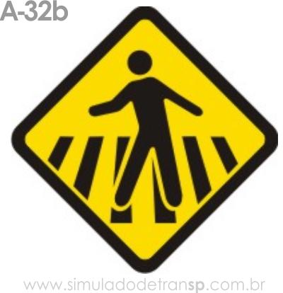 Placa de advertência A-32b: Passagem sinalizada de pedestres