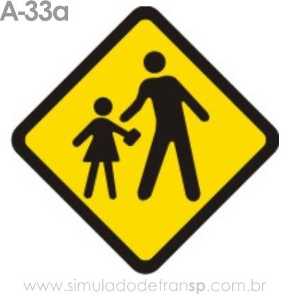Placa de advertência A-33a: Área escolar