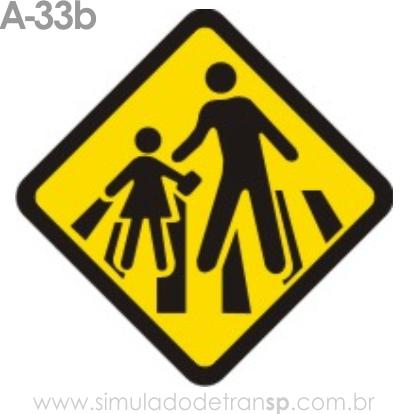 Placa de advertência A-33b: Passagem sinalizada de escolares