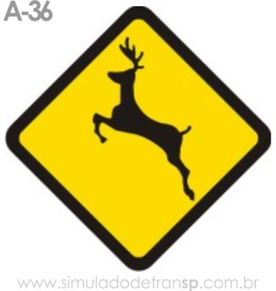 Placa de advertência A-36: Animais Selvagens