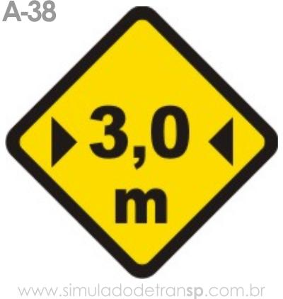 Placa de advertência A-38: Largura limitada