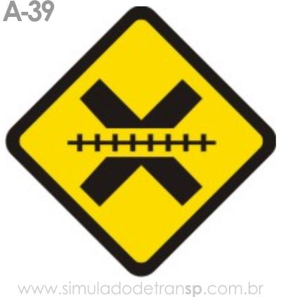 Placa de advertência A-39: Passagem de nível sem barreira