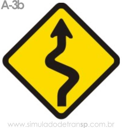Placa de advertência A-3b: Pista sinuosa à direita