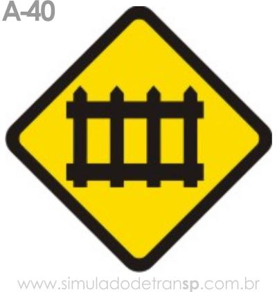 Placa de advertência A-40: Passagem de nível com barreira