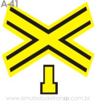 Placa de advertência A-41: Cruz de Santo André