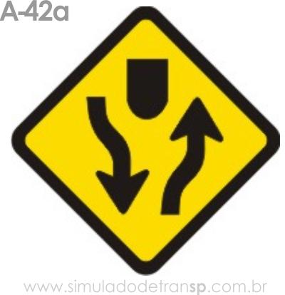 Placa de advertência A-42a: Início de pista dupla