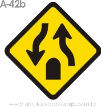 Placa de advertência A-42b: Fim de pista dupla
