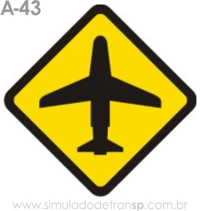 Placa de advertência A-43: Aeroporto