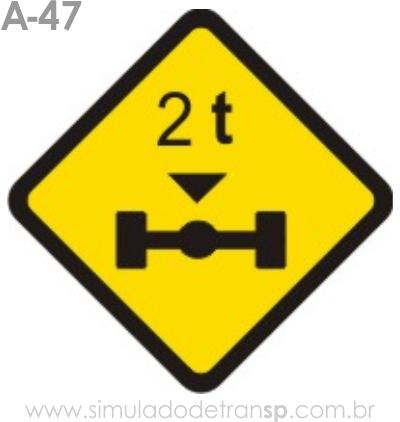Placa de advertência A-47: Peso limitado por eixo