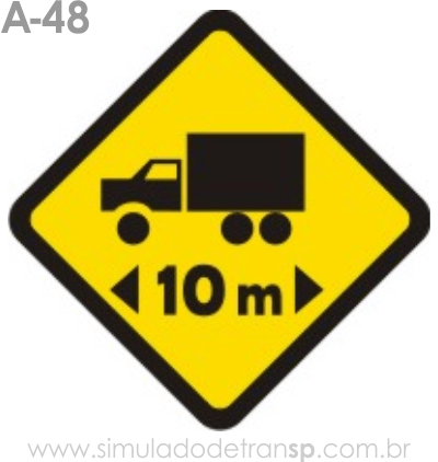 Placa de advertência A-48: Comprimento limitado