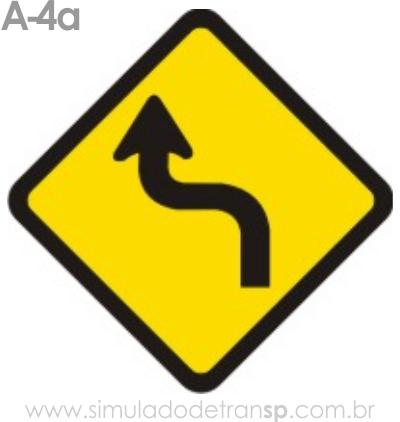 Placa de advertência A-4a: Curva acentuada em S à esquerda
