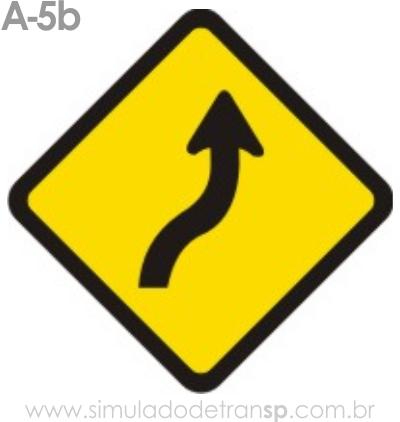 Placa de advertência A-5b: Curva em S à direita