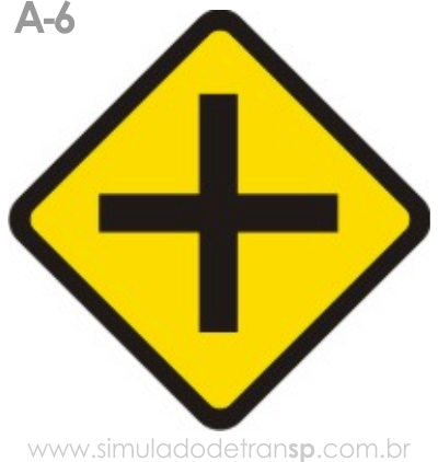 Placa de advertência A-6: Cruzamento de Vias