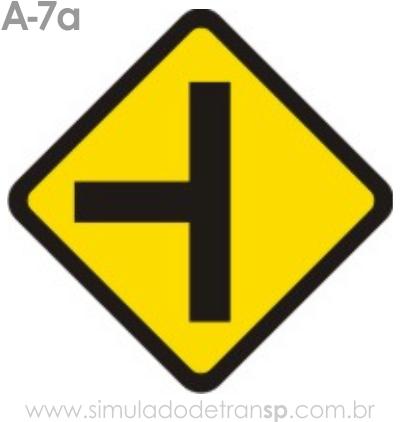 Placa de advertência A-7a: Via lateral à esquerda