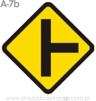 Placa de advertência A-7b: Via lateral à direita