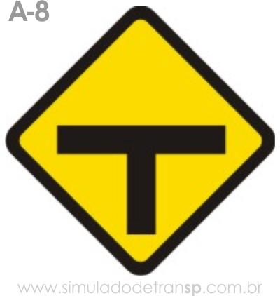 Placa de advertência A-8: Interseção em T