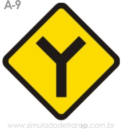 Placa de advertência A-9: Bifurcação em Y